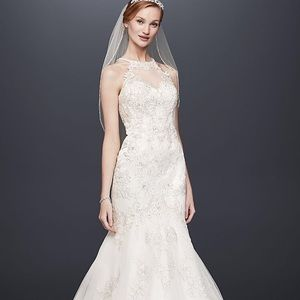 Jewel Lace and Tulle Illusion Neck Wedding Dress